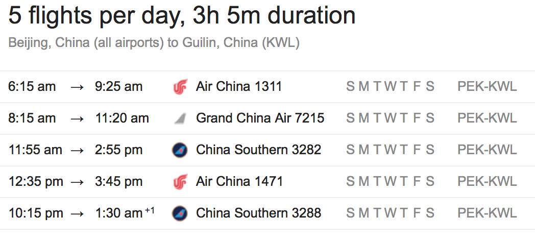 Beijing to Guilin flight