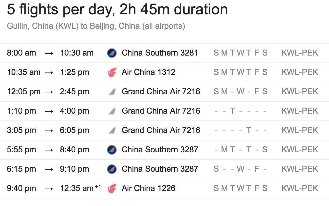 Guilin to Beijing flights