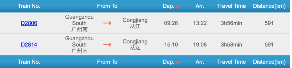 Guangzhou to Congjiang Trains