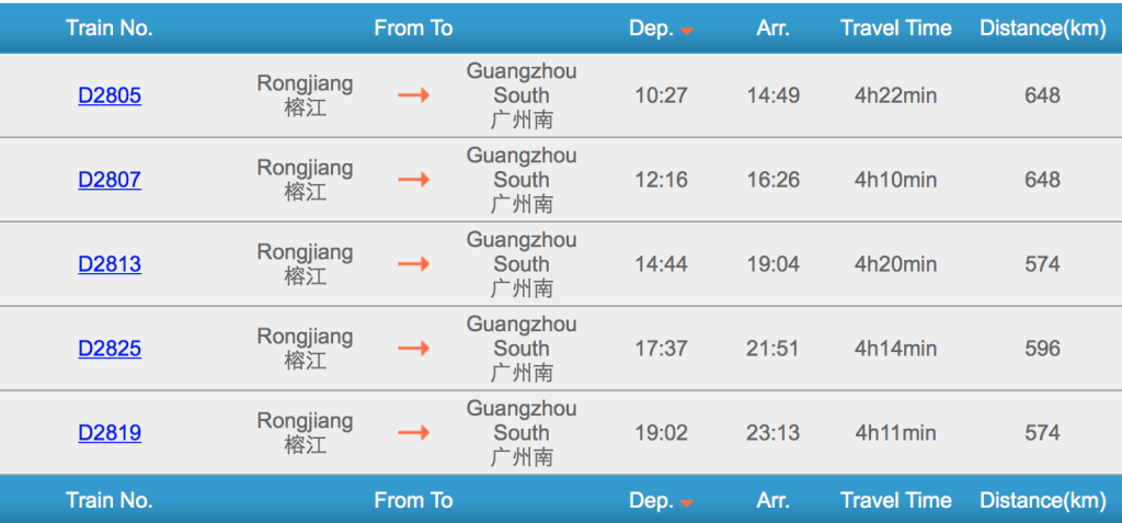 Rongjiang to Guangzhou Train Schedule