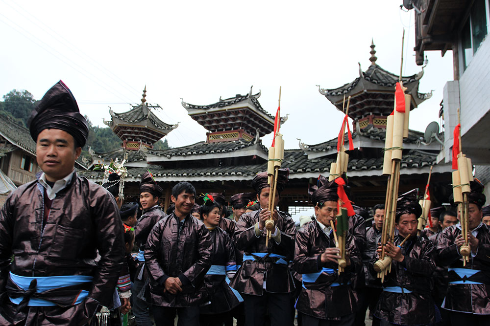Festival procession in Dong tribe village
