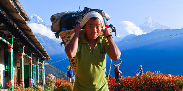 Trekking out of Gandruk with Fishtail  in the background.